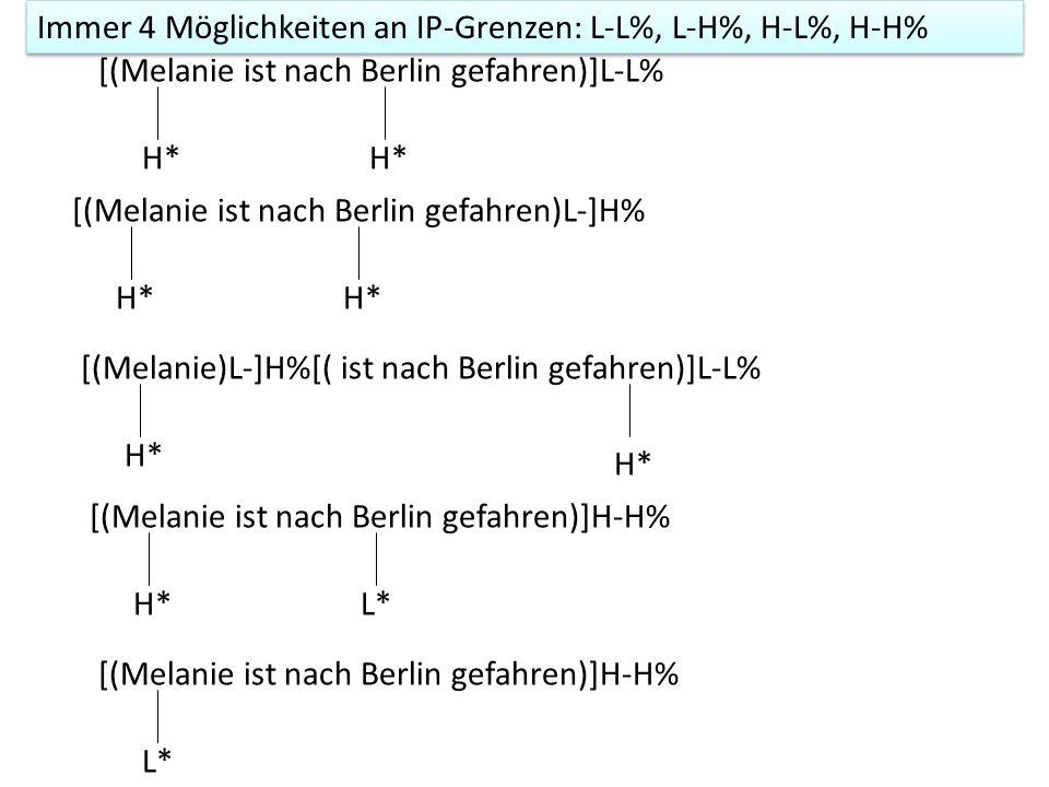 Phrasen- und Grenztonkombinationen IP-Grenzen: L-L%, H-L%, H-H%, L-H%ip-Grenzen: H- oder L- [(Ramona besucht Melanie)L-]L% H* fallend [(Ramona besucht