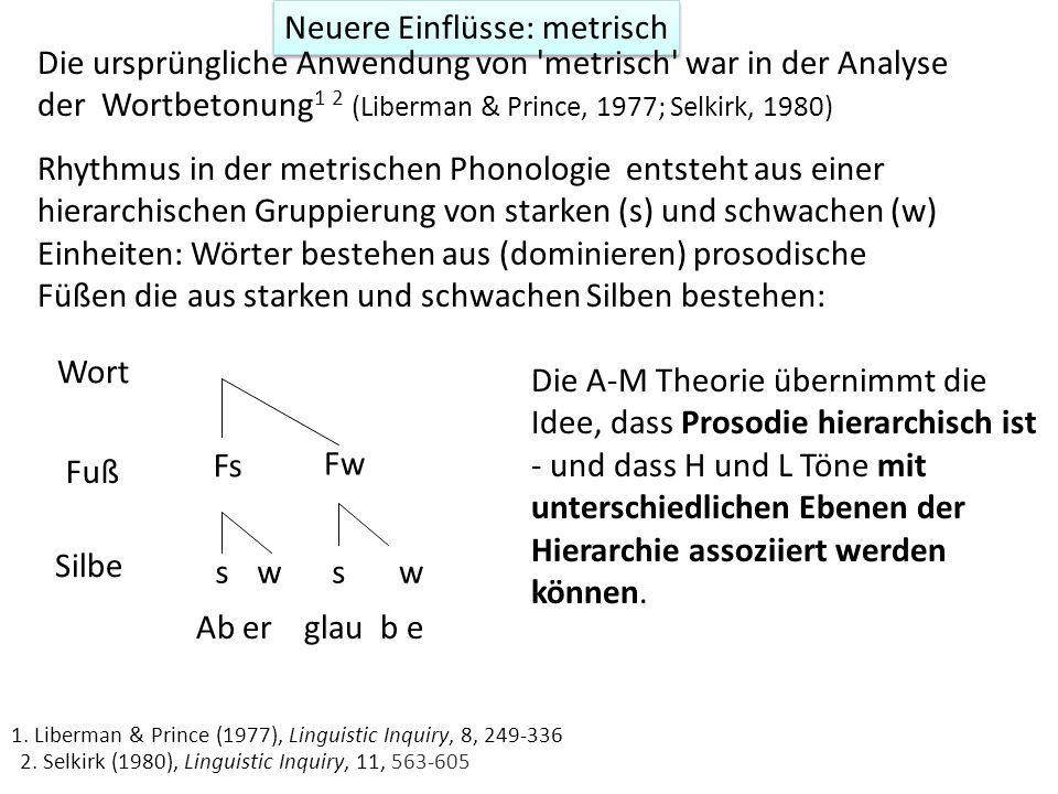 Neuere Einflüsse: autosegmentell Die A-M Theorie der Intonation übernimmt die Idee, dass H und L Tönen mit Segmenten (und anderen prosodischen Einheit