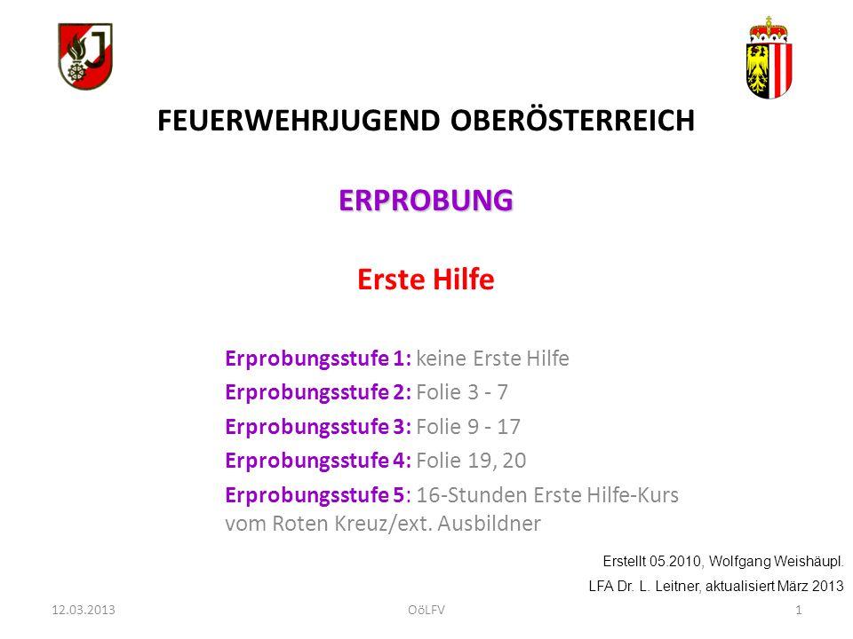 2 FEUERWEHRJUGEND OBERÖSTERREICH ERPROBUNG ERPROBUNG Erste Hilfe Erprobung 2: Folie 3 - 7 Erstellt 05.2010, Wolfgang Weishäupl.