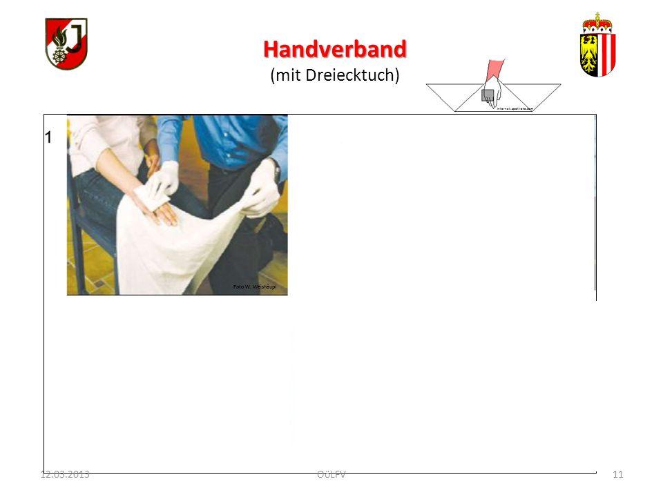 11 Handverband (mit Dreiecktuch) Foto W. Weishäupl Internet: apotheke.com 12.03.2013OöLFV