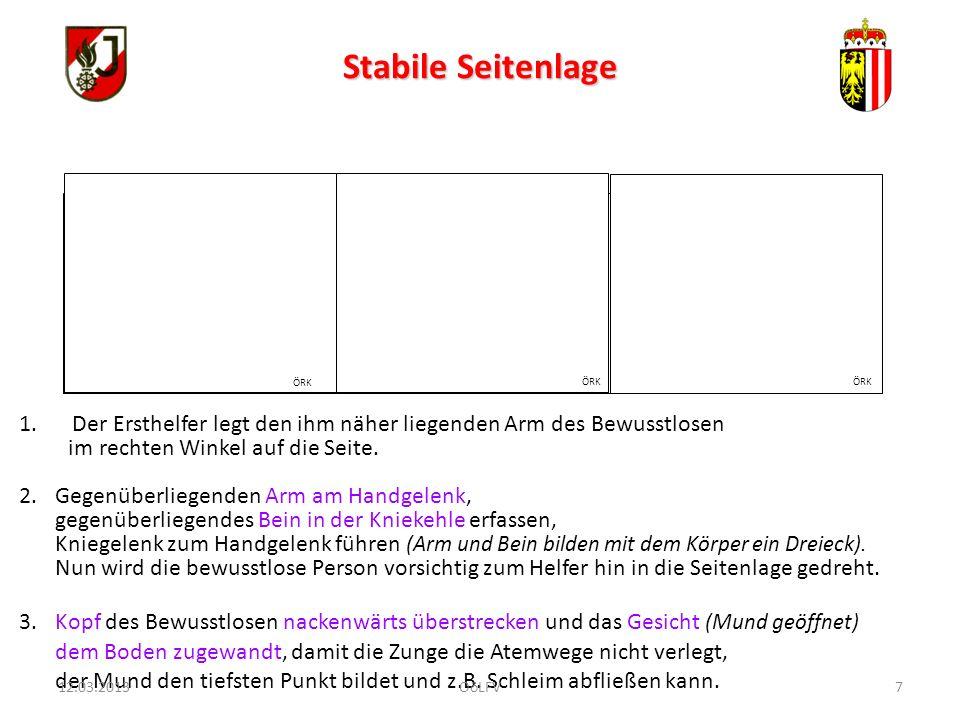 18 FEUERWEHRJUGEND OBERÖSTERREICH ERPROBUNG Erste Hilfe Erprobung 4: Folie 19, 20 Erstellt 05.2010, Wolfgang Weishäupl.