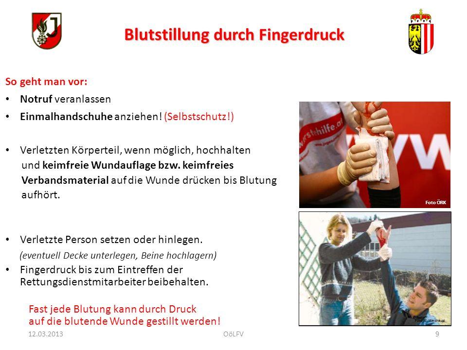10 Blutstillung durch Druckverband Selbstschutz .(Einmal-Handschuhe!).