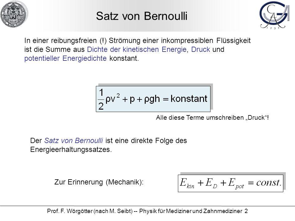Prof. F. Wörgötter (nach M. Seibt) -- Physik für Mediziner und Zahnmediziner 33 Versuch: Viskosität