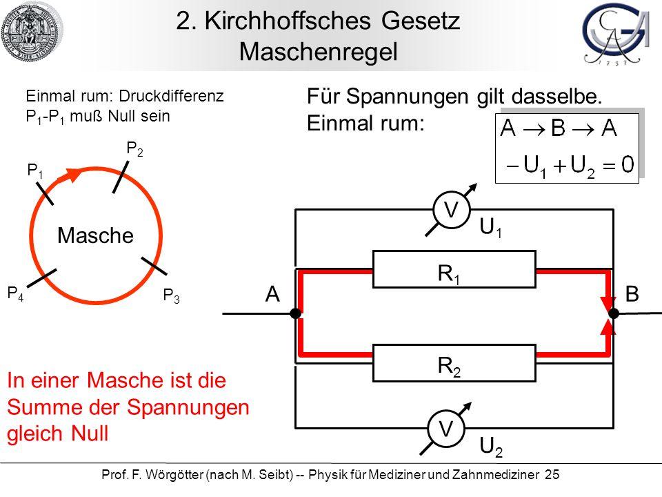 Prof.F. Wörgötter (nach M. Seibt) -- Physik für Mediziner und Zahnmediziner 25 2.