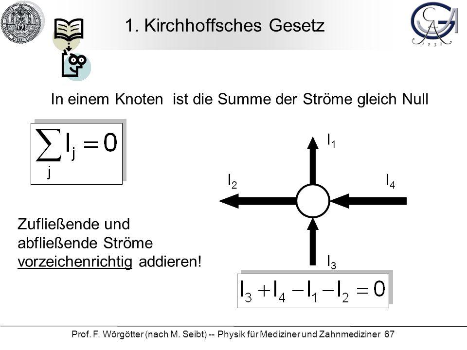 Prof.F. Wörgötter (nach M. Seibt) -- Physik für Mediziner und Zahnmediziner 67 1.