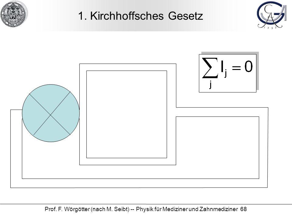 Prof.F. Wörgötter (nach M. Seibt) -- Physik für Mediziner und Zahnmediziner 68 1.