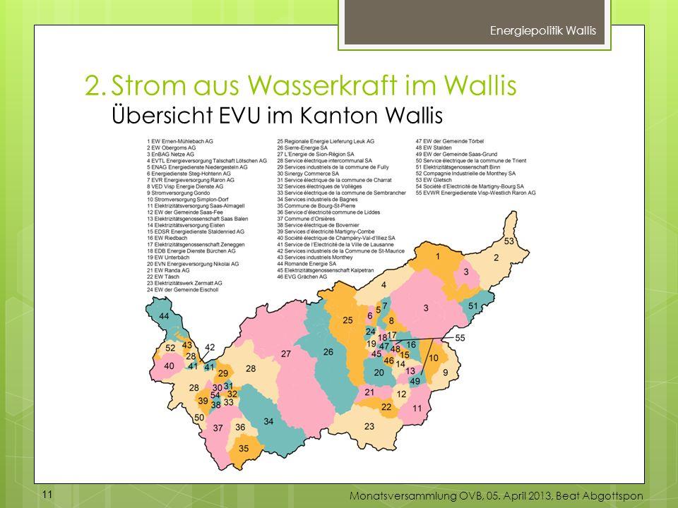 Energiepolitik Wallis 2.Strom aus Wasserkraft im Wallis Übersicht EVU im Kanton Wallis 11 Monatsversammlung OVB, 05. April 2013, Beat Abgottspon