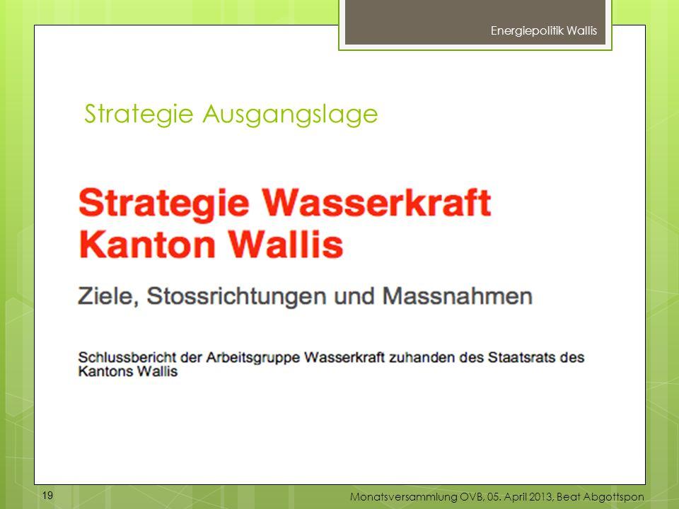 Energiepolitik Wallis 19 Monatsversammlung OVB, 05. April 2013, Beat Abgottspon Strategie Ausgangslage