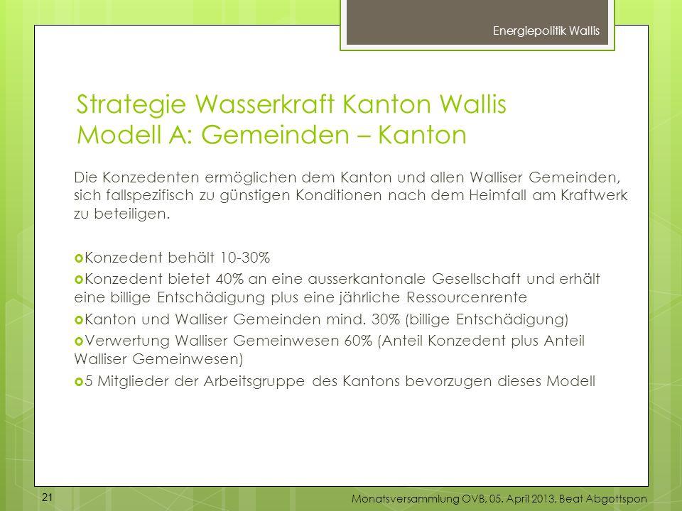 Strategie Wasserkraft Kanton Wallis Modell A: Gemeinden – Kanton Die Konzedenten ermöglichen dem Kanton und allen Walliser Gemeinden, sich fallspezifi