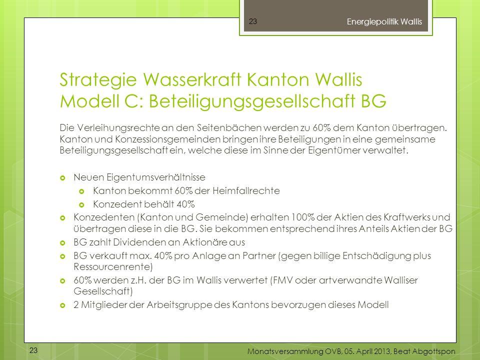 Strategie Wasserkraft Kanton Wallis Modell C: Beteiligungsgesellschaft BG Die Verleihungsrechte an den Seitenbächen werden zu 60% dem Kanton übertrage