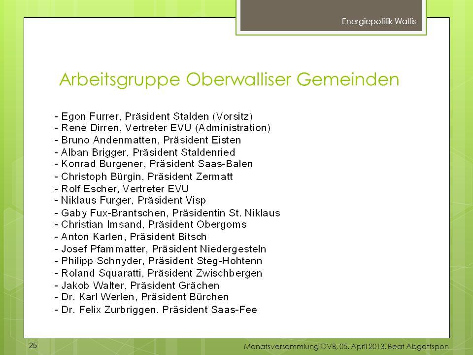 Energiepolitik Wallis 25 Monatsversammlung OVB, 05. April 2013, Beat Abgottspon Arbeitsgruppe Oberwalliser Gemeinden