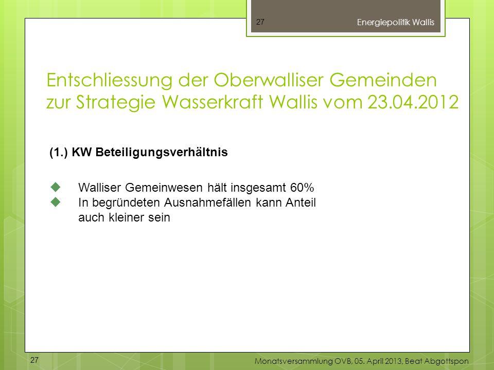 27 (1.) KW Beteiligungsverhältnis Walliser Gemeinwesen hält insgesamt 60% In begründeten Ausnahmefällen kann Anteil auch kleiner sein Energiepolitik W