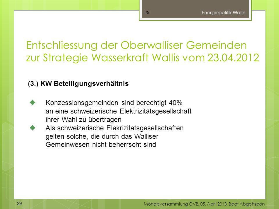 29 (3.) KW Beteiligungsverhältnis Konzessionsgemeinden sind berechtigt 40% an eine schweizerische Elektrizitätsgesellschaft ihrer Wahl zu übertragen A