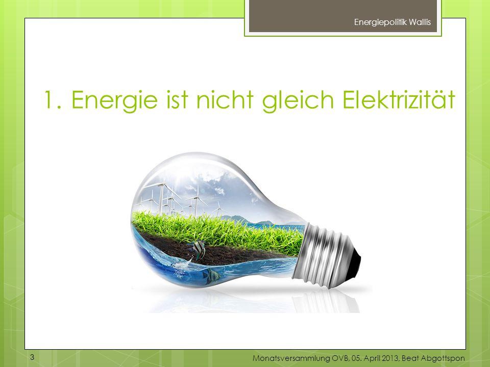 1.Energie ist nicht gleich Elektrizität Energiepolitik Wallis 3 Monatsversammlung OVB, 05. April 2013, Beat Abgottspon