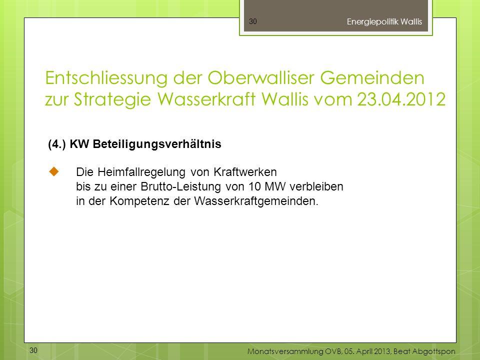 30 (4.) KW Beteiligungsverhältnis Die Heimfallregelung von Kraftwerken bis zu einer Brutto-Leistung von 10 MW verbleiben in der Kompetenz der Wasserkr