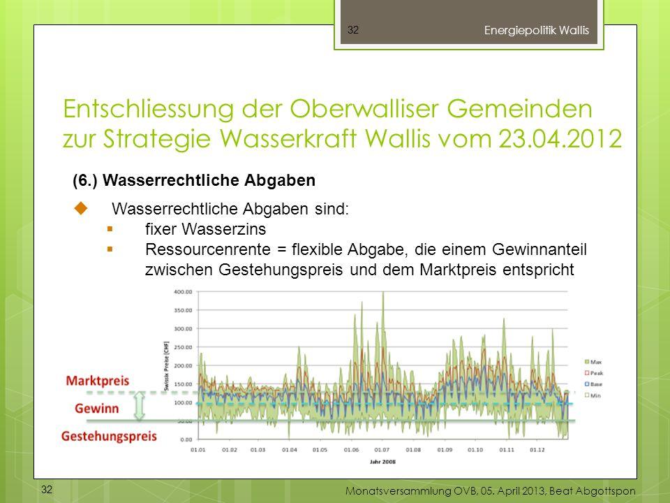 32 (6.) Wasserrechtliche Abgaben Wasserrechtliche Abgaben sind: fixer Wasserzins Ressourcenrente = flexible Abgabe, die einem Gewinnanteil zwischen Ge