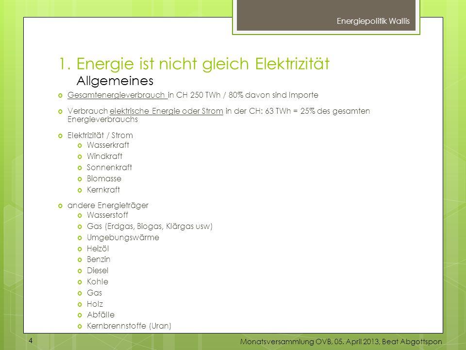 1.Energie ist nicht gleich Elektrizität Allgemeines Energiepolitik Wallis Gesamtenergieverbrauch in CH 250 TWh / 80% davon sind Importe Verbrauch elek