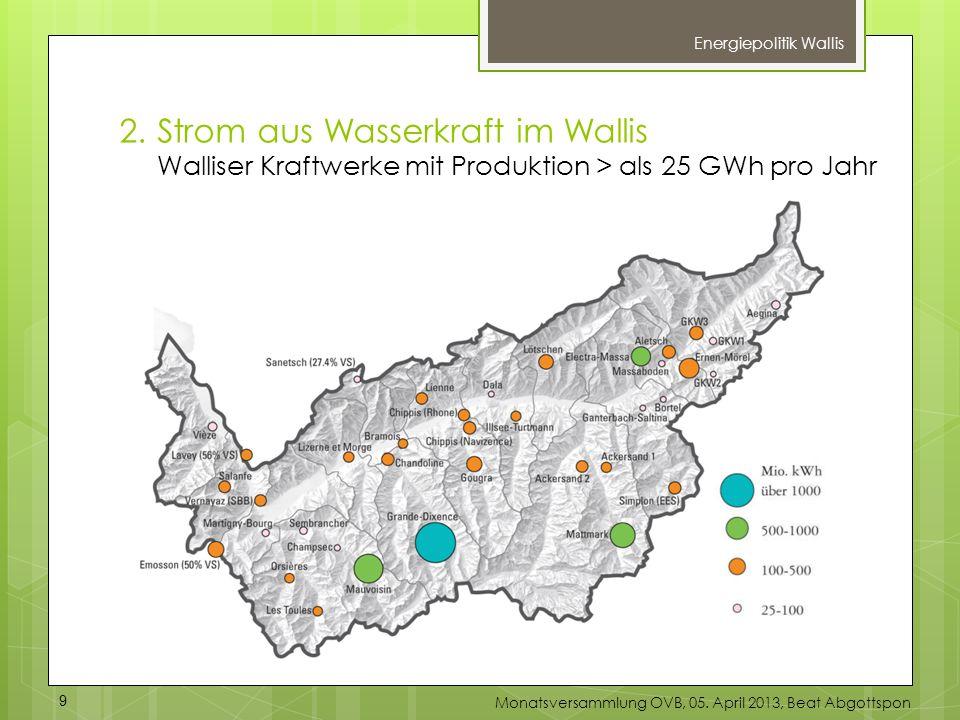 2.Strom aus Wasserkraft im Wallis Walliser Kraftwerke mit Produktion > als 25 GWh pro Jahr Energiepolitik Wallis 9 Monatsversammlung OVB, 05. April 20