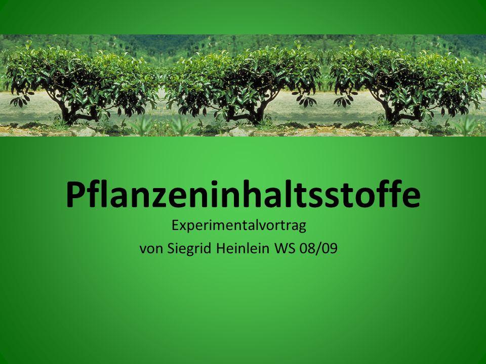 Pflanzeninhaltsstoffe Experimentalvortrag von Siegrid Heinlein WS 08/09