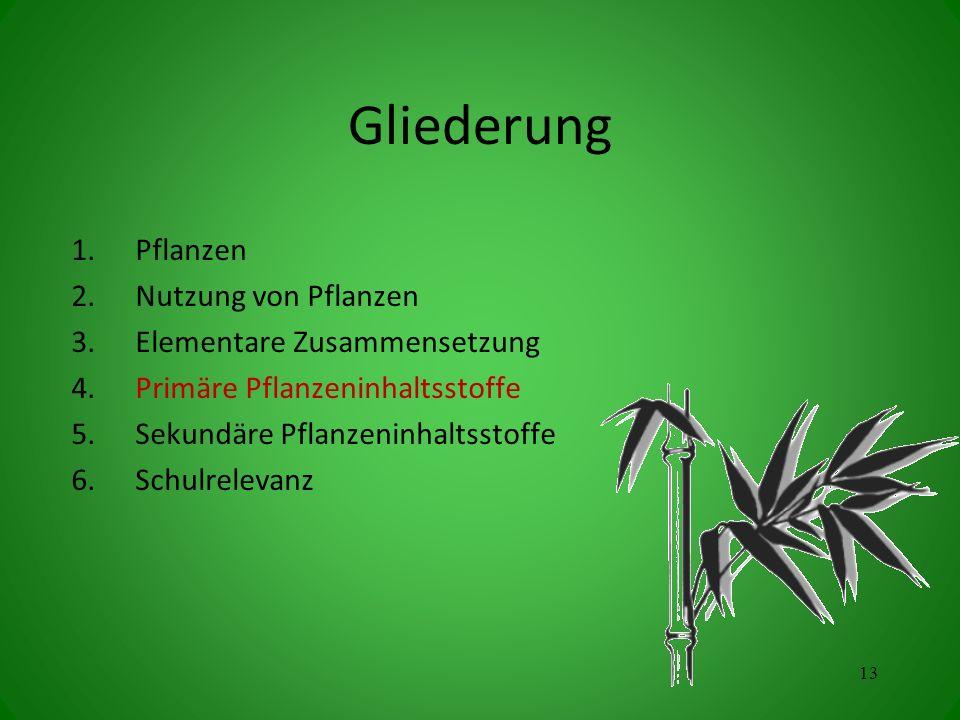 Gliederung 1.Pflanzen 2.Nutzung von Pflanzen 3.Elementare Zusammensetzung 4.Primäre Pflanzeninhaltsstoffe 5.Sekundäre Pflanzeninhaltsstoffe 6.Schulrelevanz 13