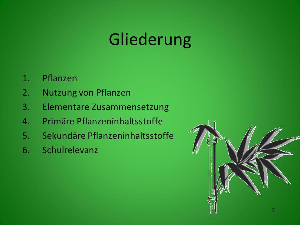Gliederung 1.Pflanzen 2.Nutzung von Pflanzen 3.Elementare Zusammensetzung 4.Primäre Pflanzeninhaltsstoffe 5.Sekundäre Pflanzeninhaltsstoffe 6.Schulrelevanz 2