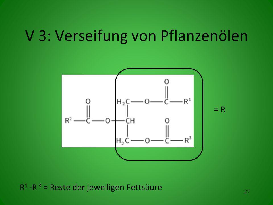 V 3: Verseifung von Pflanzenölen R 1 -R 3 = Reste der jeweiligen Fettsäure 27 = R