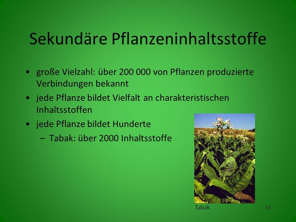 Sekundäre Pflanzeninhaltsstoffe große Vielzahl: über 200 000 von Pflanzen produzierte Verbindungen bekannt jede Pflanze bildet Vielfalt an charakteristischen Inhaltsstoffen jede Pflanze bildet Hunderte –Tabak: über 2000 Inhaltsstoffe 33 Tabak
