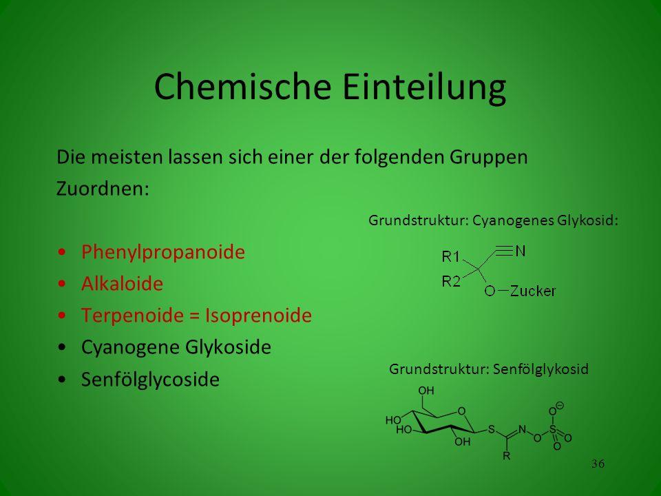 Chemische Einteilung Die meisten lassen sich einer der folgenden Gruppen Zuordnen: Phenylpropanoide Alkaloide Terpenoide = Isoprenoide Cyanogene Glykoside Senfölglycoside 36 Grundstruktur: Cyanogenes Glykosid: Grundstruktur: Senfölglykosid