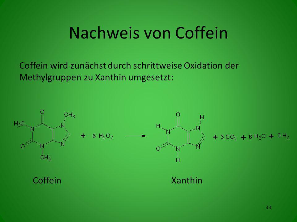 CoffeinXanthin Coffein wird zunächst durch schrittweise Oxidation der Methylgruppen zu Xanthin umgesetzt: 44