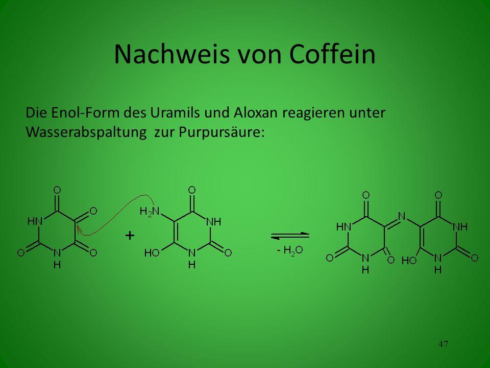 Die Enol-Form des Uramils und Aloxan reagieren unter Wasserabspaltung zur Purpursäure: 47 Nachweis von Coffein