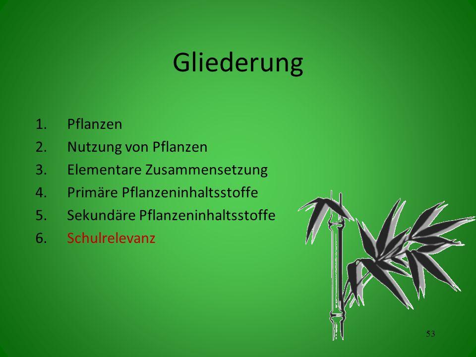 Gliederung 1.Pflanzen 2.Nutzung von Pflanzen 3.Elementare Zusammensetzung 4.Primäre Pflanzeninhaltsstoffe 5.Sekundäre Pflanzeninhaltsstoffe 6.Schulrelevanz 53