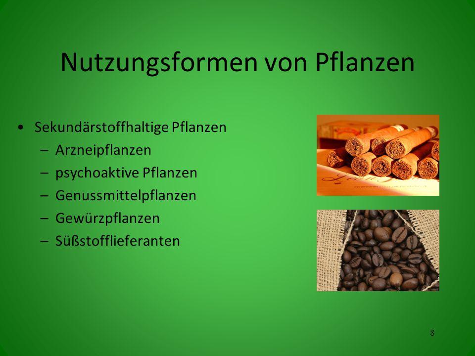 Nutzungsformen von Pflanzen Sekundärstoffhaltige Pflanzen –Arzneipflanzen –psychoaktive Pflanzen –Genussmittelpflanzen –Gewürzpflanzen –Süßstofflieferanten 8