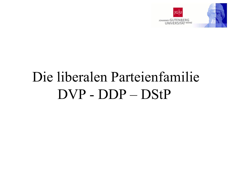 DVP DDP DStP DVP Dass Deutschland nach dem Krieg wieder ein anerkanntes Mitglied der Völkergemeinschaft geworden ist, verdankt es in erster Linie dem liberal-konservativen Politiker Gustav Stresemann und den durch ihn zustande gekommenen parlamentarischen Mehrheiten.