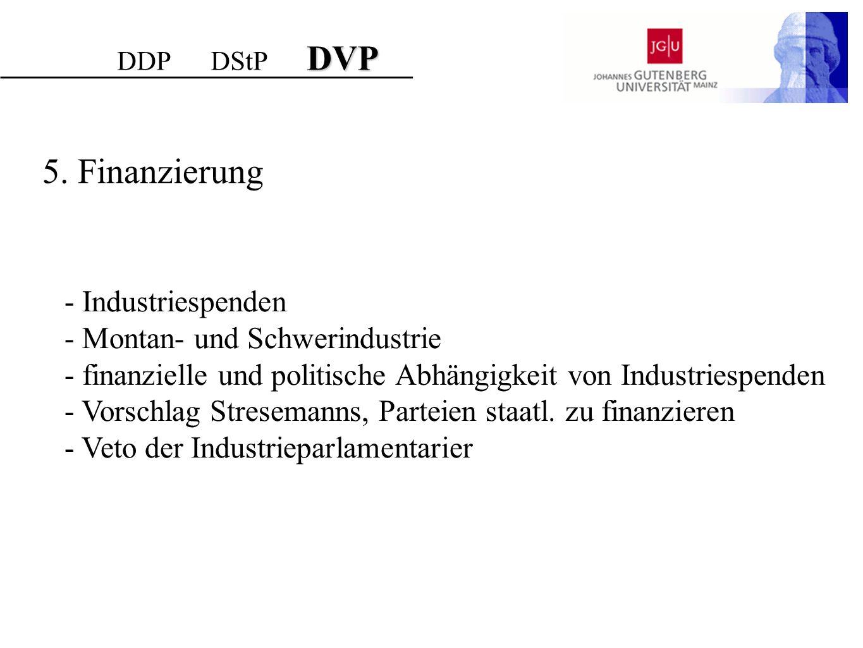 DVP DDP DStP DVP 5. Finanzierung - Industriespenden - Montan- und Schwerindustrie - finanzielle und politische Abhängigkeit von Industriespenden - Vor