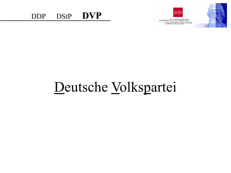DVP DDP DStP DVP Deutsche Volkspartei