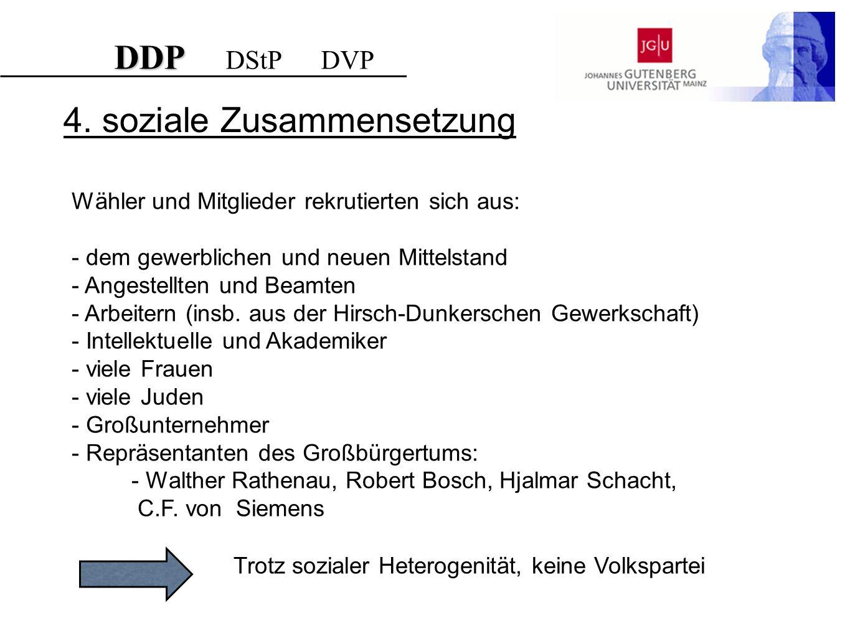 4. soziale Zusammensetzung Wähler und Mitglieder rekrutierten sich aus: - dem gewerblichen und neuen Mittelstand - Angestellten und Beamten - Arbeiter