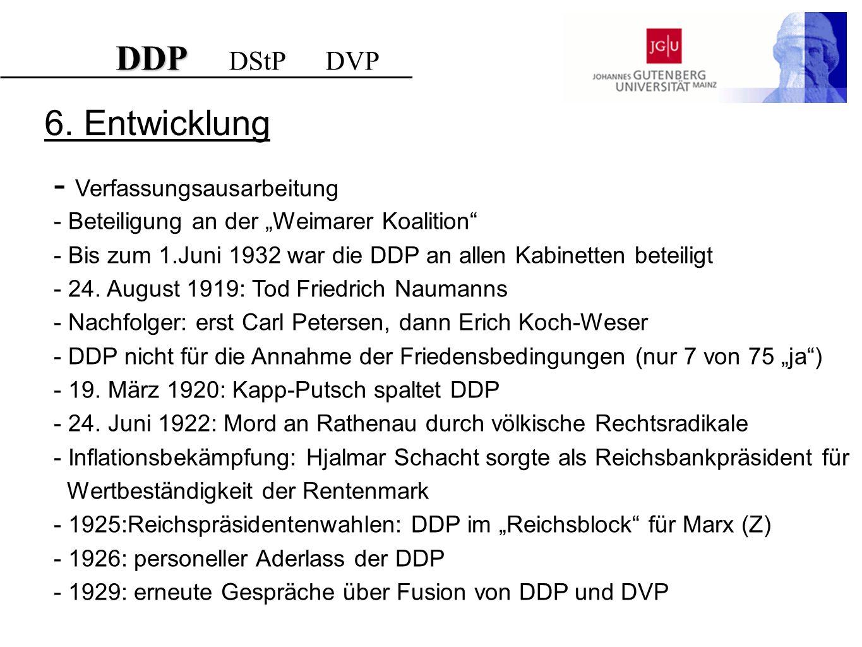DDP DDP DStP DVP 6. Entwicklung - Verfassungsausarbeitung - Beteiligung an der Weimarer Koalition - Bis zum 1.Juni 1932 war die DDP an allen Kabinette