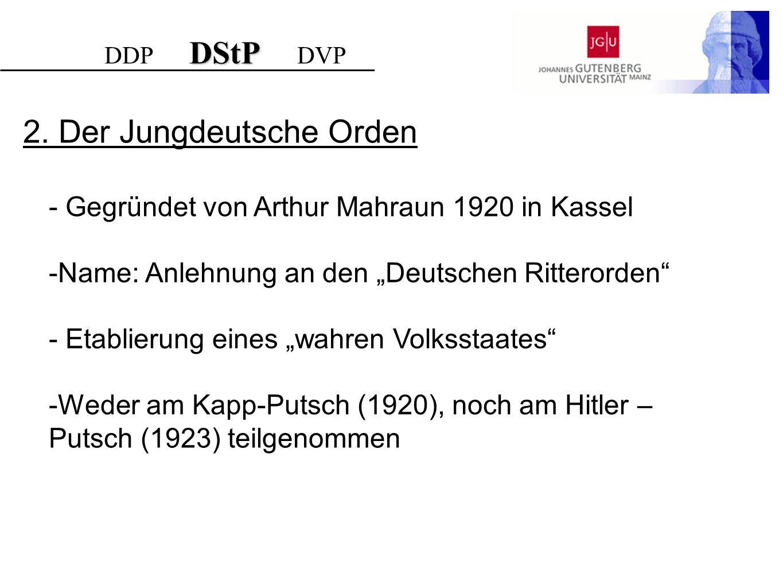 - Gegründet von Arthur Mahraun 1920 in Kassel -Name: Anlehnung an den Deutschen Ritterorden - Etablierung eines wahren Volksstaates -Weder am Kapp-Put