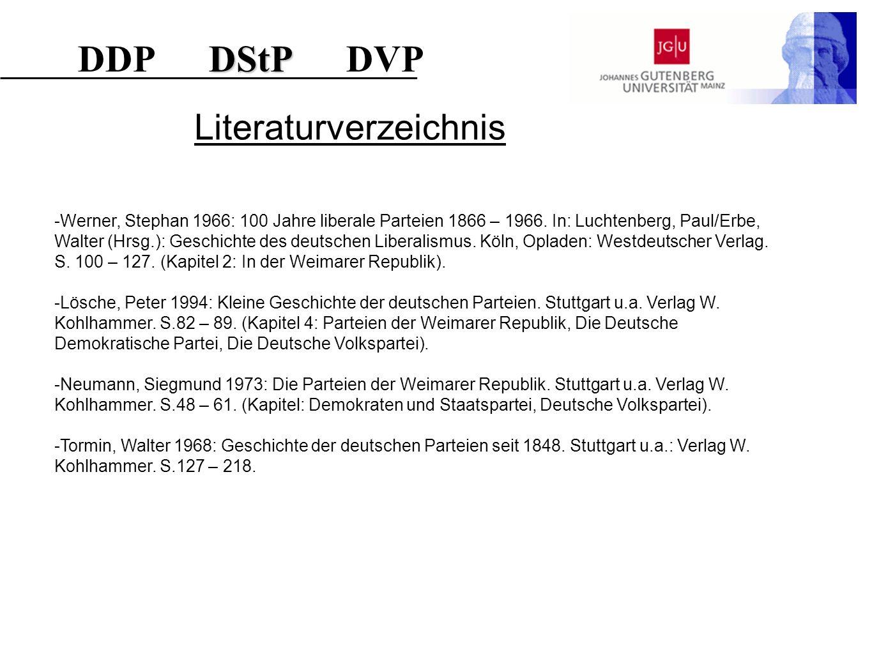 Literaturverzeichnis -Werner, Stephan 1966: 100 Jahre liberale Parteien 1866 – 1966. In: Luchtenberg, Paul/Erbe, Walter (Hrsg.): Geschichte des deutsc