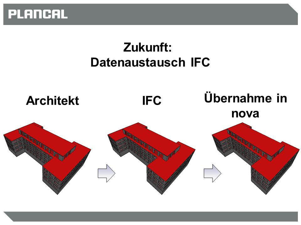 Zukunft: Datenaustausch IFC ArchitektIFC Übernahme in nova