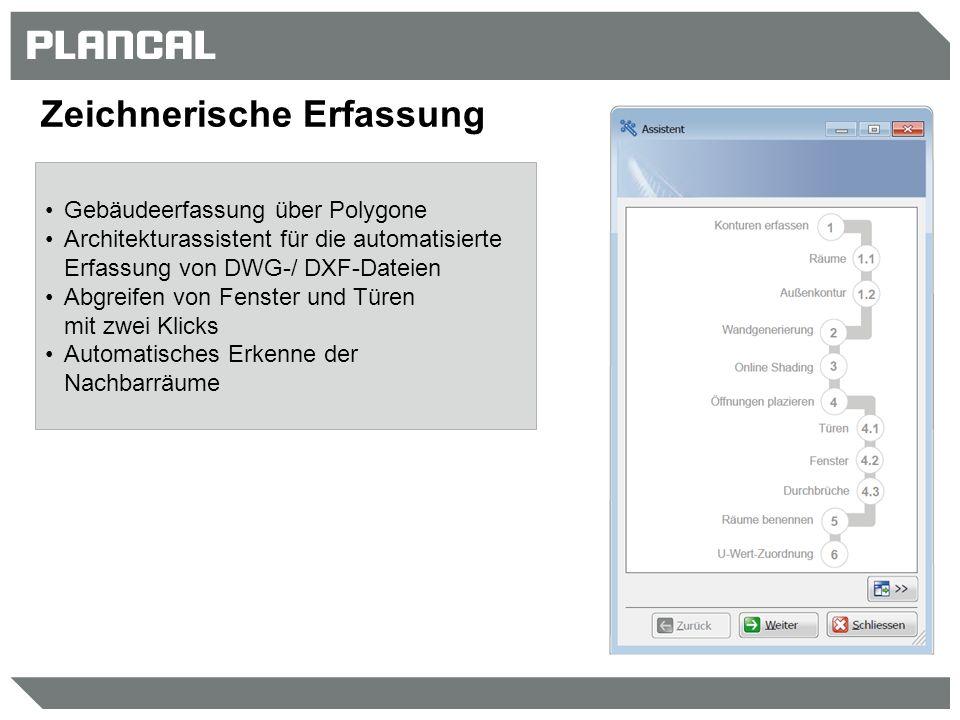 Zeichnerische Erfassung Gebäudeerfassung über Polygone Architekturassistent für die automatisierte Erfassung von DWG-/ DXF-Dateien Abgreifen von Fenst