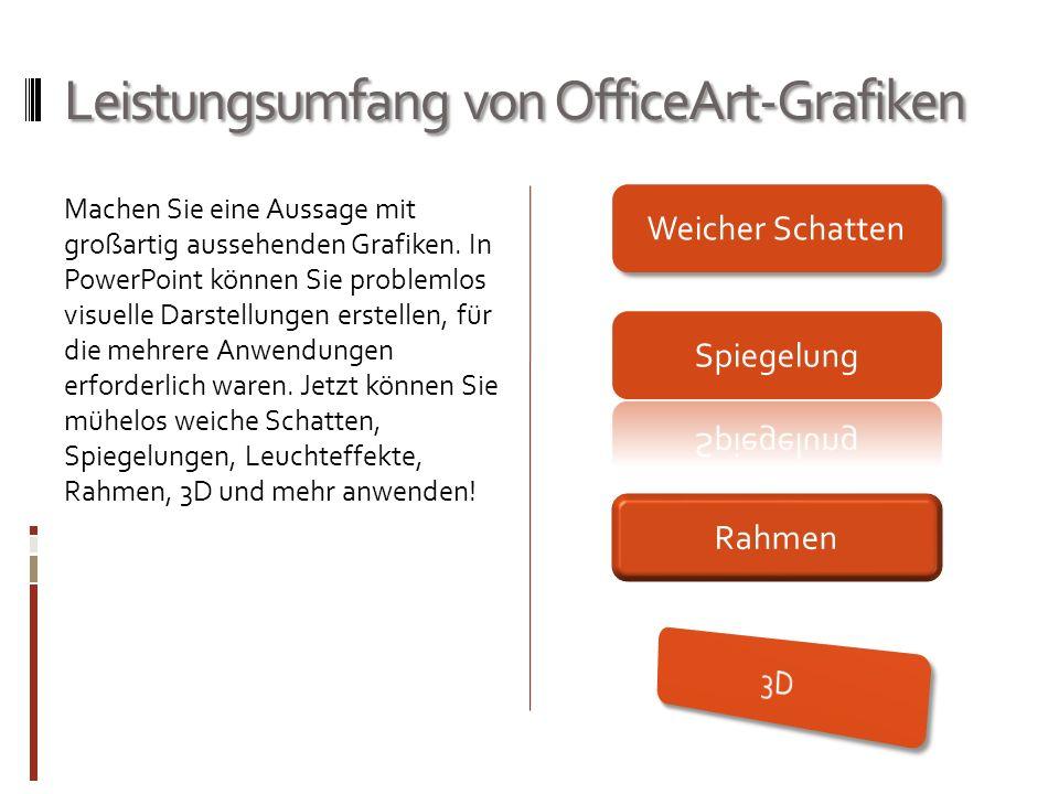 Leistungsumfang von OfficeArt-Grafiken Machen Sie eine Aussage mit großartig aussehenden Grafiken. In PowerPoint können Sie problemlos visuelle Darste