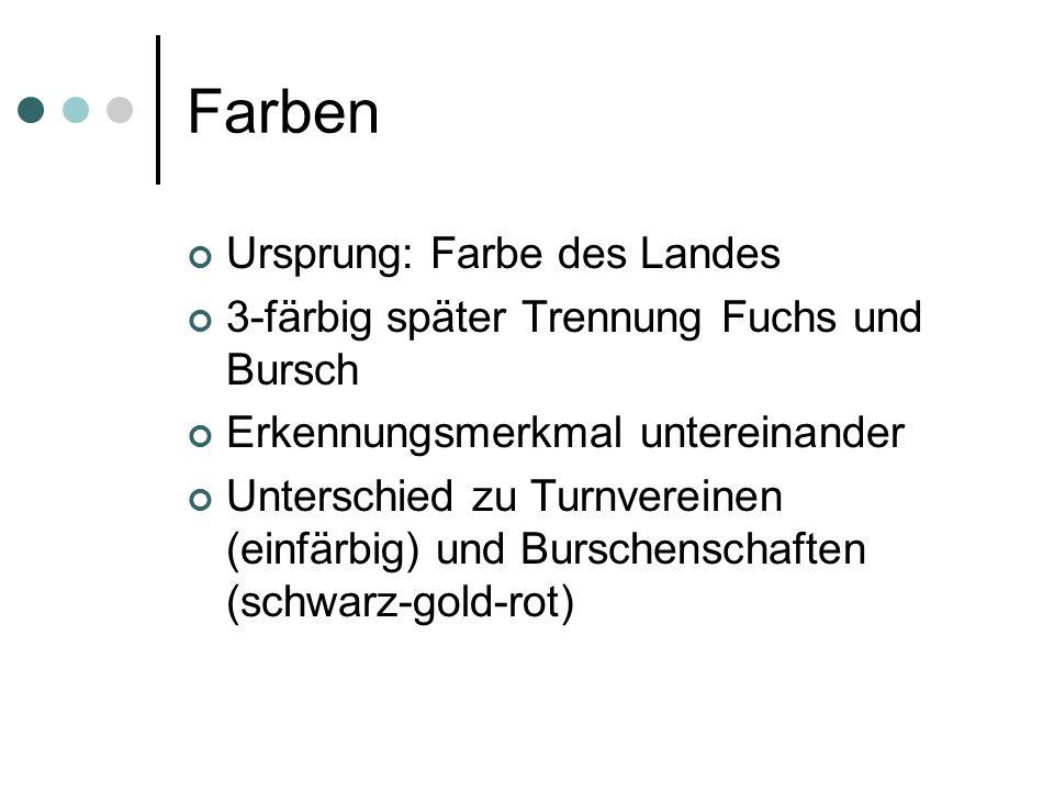 Farben Ursprung: Farbe des Landes 3-färbig später Trennung Fuchs und Bursch Erkennungsmerkmal untereinander Unterschied zu Turnvereinen (einfärbig) un
