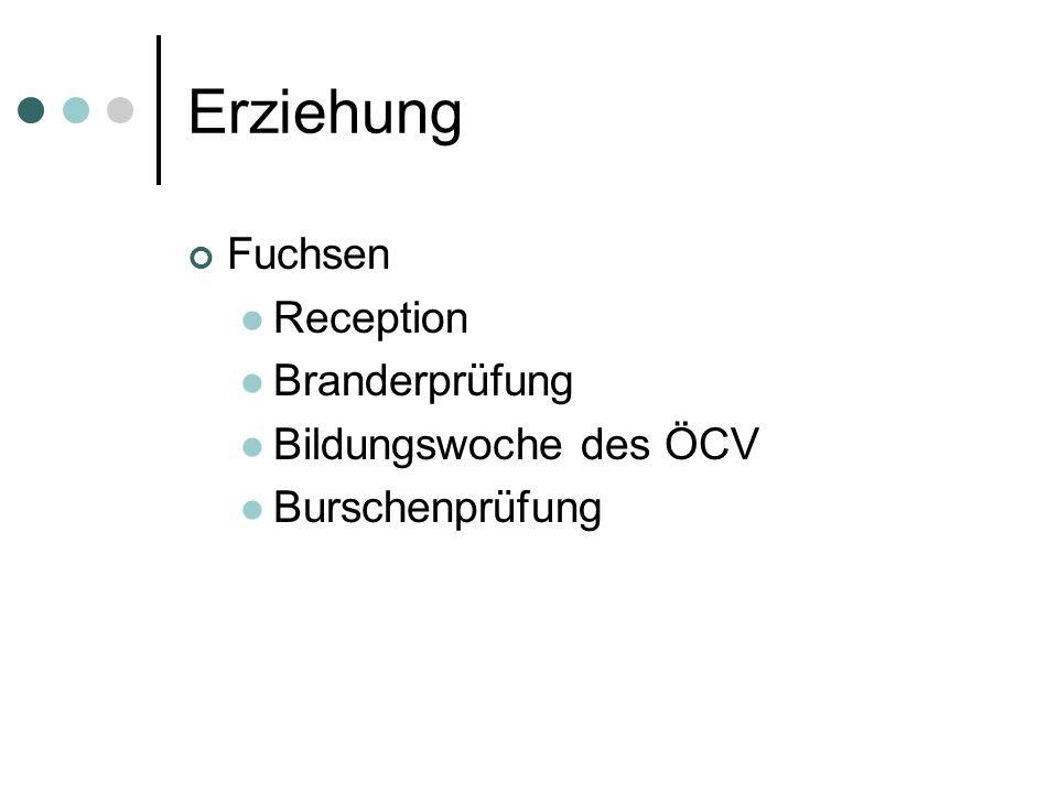 Erziehung Fuchsen Reception Branderprüfung Bildungswoche des ÖCV Burschenprüfung