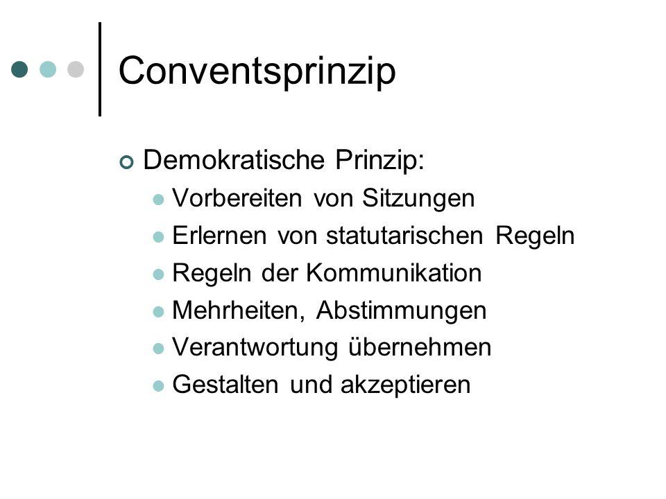 Conventsprinzip Demokratische Prinzip: Vorbereiten von Sitzungen Erlernen von statutarischen Regeln Regeln der Kommunikation Mehrheiten, Abstimmungen