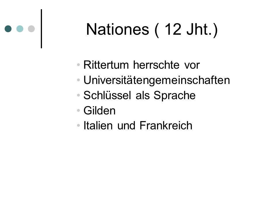 Nationes ( 12 Jht.) Rittertum herrschte vor Universitätengemeinschaften Schlüssel als Sprache Gilden Italien und Frankreich