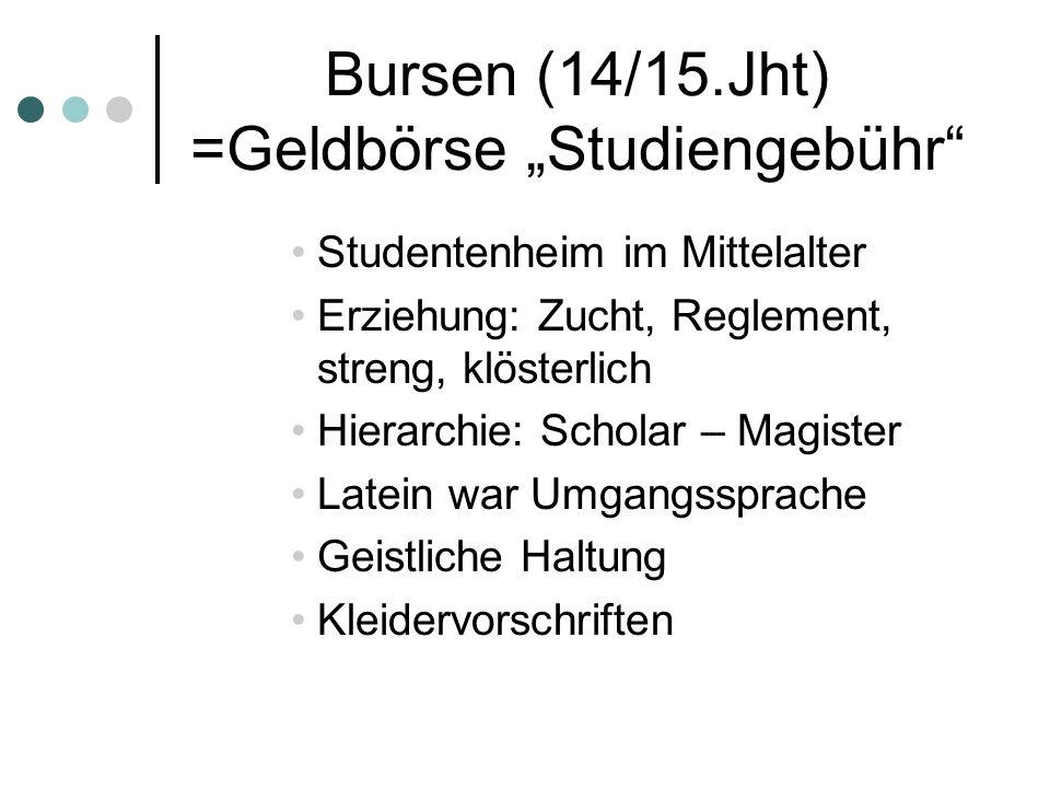 Bursen (14/15.Jht) =Geldbörse Studiengebühr Studentenheim im Mittelalter Erziehung: Zucht, Reglement, streng, klösterlich Hierarchie: Scholar – Magist