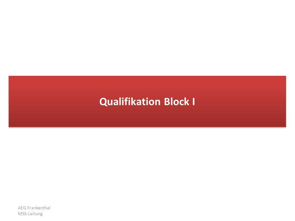 AEG Frankenthal MSS-Leitung Qualifikation im Block I Block I: enthält alle Zeugnispunkte von 35 Kursen (LK + gk) von 11/2 bis 13 die Zeugnispunkte von 2 LK werden doppelt gewichtet (+ 8 Leistungsergebnisse) Ev.