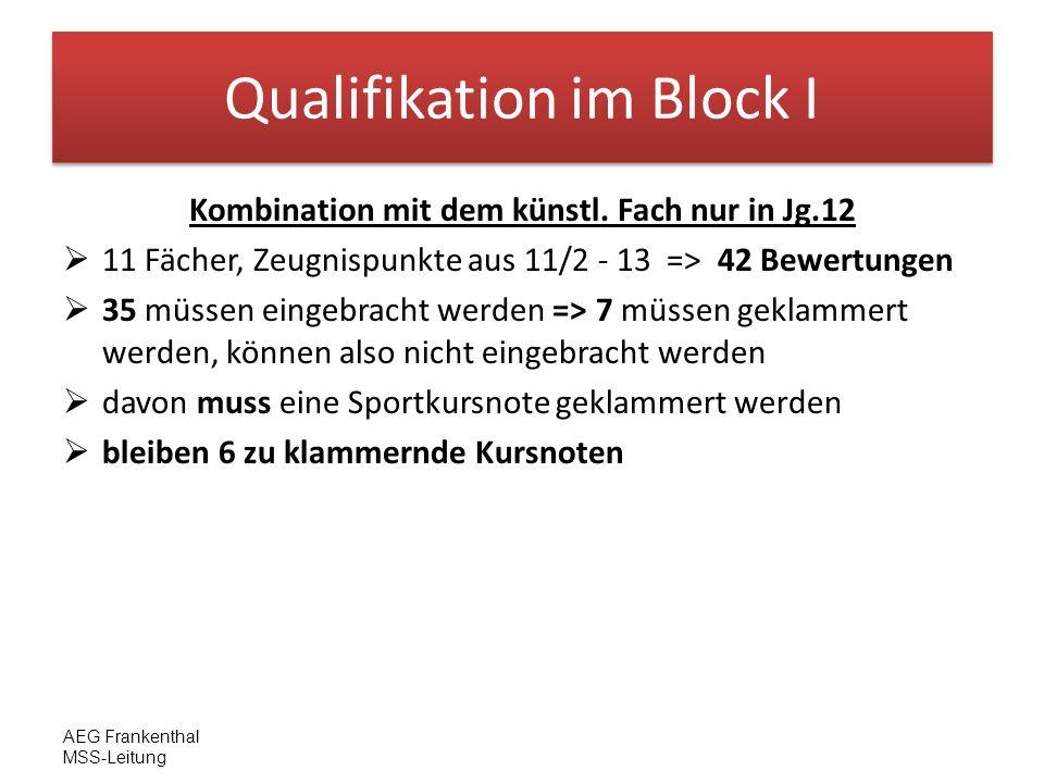 AEG Frankenthal MSS-Leitung Qualifikation im Block I Kombination mit dem künstl. Fach nur in Jg.12 11 Fächer, Zeugnispunkte aus 11/2 - 13 => 42 Bewert