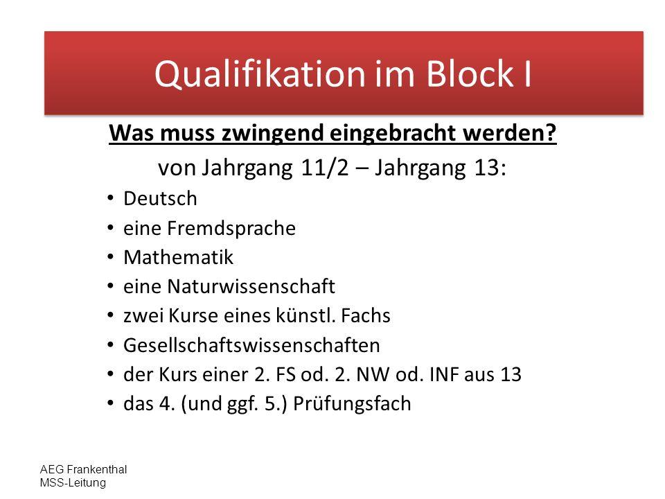AEG Frankenthal MSS-Leitung Block I Was muss zwingend eingebracht werden? von Jahrgang 11/2 – Jahrgang 13: Deutsch eine Fremdsprache Mathematik eine N
